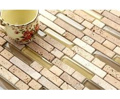 Piastrelle in vetro e pietra naturale (mosaico), Beige opaco, effetto mattoni MT0001