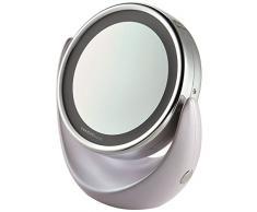 Outlook Design Lighting Mirror Specchio Cosmetico Illuminato con Luce LED, Doppio Ingrandimento Normale e 5X, Misura 11 x 20 x 18 cm, Color Argento e Madreperla, 20 x 18 cm