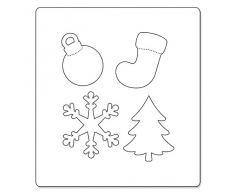 Sizzix Allstar Fustella Albero di Natale, Ornamento, Fiocco di Neve e Calza, Acciaio Inossidabile, Bianco, 1 Pezzo