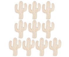 GLOBEAGLE, Set da 10 Pezzi in Legno Fai da Te, Ornamenti da Appendere con Corda per Decorazioni pasquali, Cactus