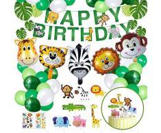 NOCHME 65 decorazioni di compleanno per bambini e ragazze a tema safari della giungla, accessori per feste di compleanno, palloncini per decorazione di compleanno,verde
