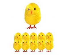 Lotto di 10 pulcini, decorazione di Pasqua, colore: giallo