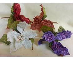 Set 12 pezzi fiore pick stella x applicazione albero di NATALE, segnaposto tavolo, panettone. (amon850) (VIOLA)