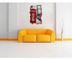 Londra cabina telefonica a muro passo avanti nel look 3D, parete o in formato adesivo porta: 92x62cm, autoadesivi della parete, autoadesivo della parete, decorazione della parete