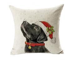 Pu Ran - Federa copricuscino con stampa natalizia, cane vestito da Babbo Natale, renna, decorazione per casa e divano #10 Santa Hat Black Labrador