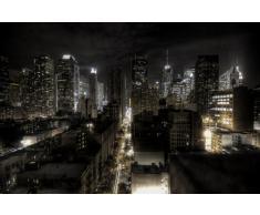 New York FOTOMURALE - Manhattan di notte quadro - HDR HD New York decorazione da parete/tappezzeria da parete by GREAT ART (210 x 140 cm