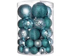 WeRChristmas - Set di decorazioni natalizie, con 50 palline in plastica infrangibile turchese blu