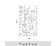 kina NT0317 Vetrofania Natalizia per vetrine Negozi - Decorazioni adesive per Natale 70x120 cm - Bianco