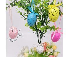 Sureh, 50 uova di Pasqua colorate, da appendere, in plastica, con corda, fai da te, ornamenti, gadget per la casa, decorazioni per matrimoni, Multicolore, 36pcs