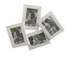 Ducomi Cornice Multipla Foto in Legno - 4 Cornici 10 x 15 cm - Collage per Fotografie e Polaroid di Battesimo, Compleanno e Matrimonio - Quadri Multipli per i Ricordi più Belli (Large, White)