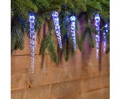 Catena 8 m, 40 led blu con decorazione Ghiaccioli, cavo verde, decorazioni luminose, luci di Natale, luci decorative, catene luminose, luci natalizie, effetto ghiaccio