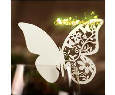 100 farfalle Segnaposto segna bicchiere BIANCA PERLATA bomboniera matrimonio segnatavolo