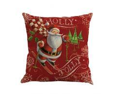 """Cuscino di Christmas, Longra Cerniera nascosta 45cm * 45cm / 18 """"* 18"""" cassa del cuscino di Dobby del lino di stampa di Natale (Multicolore_F)"""