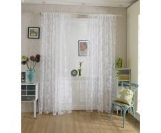 Tenda Tulle Motivo Peonia Floccato Decorazioni Interni Finestre Letto, Misura 100*200cm - Bianco