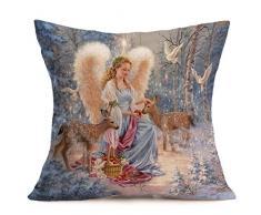 Buon Natale! Kword Natale Biancheria Federe Cuscino Cover Cuscino Divano Casa Decorazione (E)