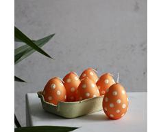 Confezione 6 Uova piccola 60 X 45 mm Arancione Uova di Pasqua candela
