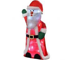 WeRChristmas - Decorazione natalizia a forma di Babbo natale alto 80 cm, con 30 luci LED colore bianco