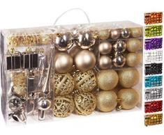 Brubaker Set di 101 Accessori Decorativi per LAlbero di Natale - addobbi Natalizie in Color Champagne - Diverse Forme di Palline ed Un Puntale per Albero di Natale