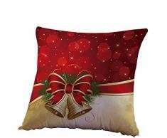 Kword Federe di Natale, Campane di Natale di Stampa Lino Tiro Lino Cuscino Caso Quadrato Cuscino Decorativo Copertura di Cotone (Rosso)
