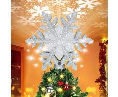 Elover 2 in 1 Albero di Natale Illuminato con Topper Bianco 3D Fiocco di Neve del proiettore, Nastro della Neve Puntale dellalbero di Natale per Natale Nursery Camera Decorazione di Festa (Argento)