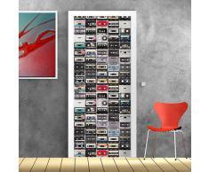 wall art PT0116 Decorazione Adesiva per Porte arredo casa - Porta Musicassette 2 - Stampa su PVC Adesivo Bubble Free