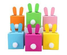 6 DIY Scatole coniglietti di Pasqua fai da te da riempire - un regalo che viene dal cuore - a Pasqua - 6 scatole colorate - Scatole per decorazione