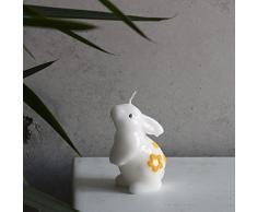 Piccola Candela decorativa coniglietto di Pasqua bianco giallo