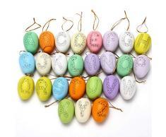 Folora Uova di Pasqua Ornamenti da Appendere Decorazioni pasquali Uova di plastica Fai da Te per Bambini Pittura Fai da Te per Bambini 26 Pezzi 6 cm (Alfabeto)