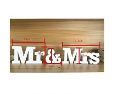 EQLEF® 1 Set Mr & Mrs Letters legno per la decorazione di nozze segno superiore tavola presenti Decor