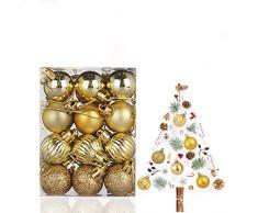 WELLXUNK® Palline di Natale, 24pcs Albero di Natale Palla Decorazioni, Palline di Natale Opache, Palline di Natale Infrangibili, Palle infrangibili per Decorazioni Natalizie da Appendere (M3)