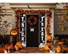 Sayala Decorazione Esterna di Halloween,3 Pezzi di Benvenuto Trick or Treat Portico Segno Banner Door Decorazione di Pasqua