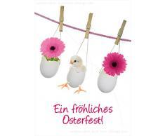 """'3 pezzi divertenti A6 animale cartoline cartoline scheda Pasqua Oster scheda Pulcino uova di Pasqua di un Fröhliches di Pasqua. """""""
