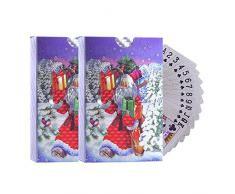 2 Set di Carte da Gioco con Motivo Natalizio Carte da Gioco Lamina dArgento Impermeabile Babbo Natale Poker per Oggetti di Scena magici, Giochi da Spiaggia in Piscina, Feste
