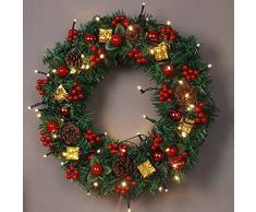 Homebaby Ghirlanda natalizia decorativa Ghirlande natalizie per porta d'ingresso da 40cm Decorazioni per esterni vintage Fiore artificiale Ghirlanda di ornamento di muro