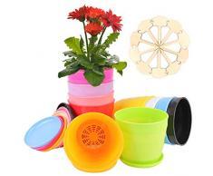 Colmanda Vasi per Piante, 10 Pezzi Vasi per Piante in Colorati e 10 Etichette di Piante in Bambù, Colorati Vasi per Fiori con Foro di Drenaggio per Arredo Casa Giardinaggio Domestico (10 Pezzi ,B)