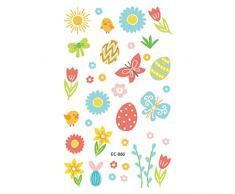 rryilong - Tatuaggio temporaneo Pasqua, Motivo: Fumetti, Uova Colorate, Body Art, Autoadesivo, monouso, Impermeabile, per Bambini, Festa Quotidiana, Regalo per Festival
