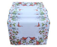 Runner da tavola 40 x 140 cm tovaglia Pasqua Decorazione tavolo Primavera Bianco Colorato Fiori e farfalle