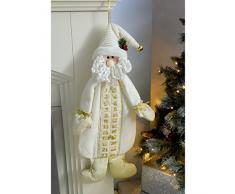 WeRChristmas - Decorazione natalizia a forma di Babbo Natale con calendario dellavvento, 66 cm, colore panna/oro