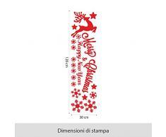 NT0369 Adesivi Murali - Renna merry christmas con fiocchi - Vetrofanie natalizie - 30x120 cm - rosso - Decorazioni vetrine per Natale, stickers, adesivi