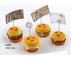 STOCK 12 PEZZI Simpatico Segnaposto Segna posto morbido a forma di hamburger con Smile Sorriso e calamita BOMBONIERA NASCITA COMUNIONE MATRIMONIO