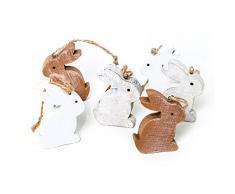 12 pezzi piccolo bianco in legno marrone coniglietto pasquale 6 cm da appendere – Legno lepri Pasqua Decorazione Oster fatti a mano come ciondolo regalo Give Away – Pasqua Decorazione da appendere o altri Nest decorare