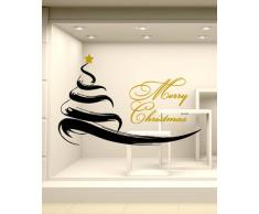 NT0221 Adesivi Murali - Albero Pennellato - Vetrofanie natalizie - 105x71 cm - Rosso e oro - Decorazioni vetrine per Natale, stickers, adesivi