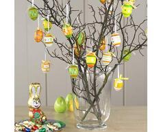 COM-FOUR® 24 Uova di Pasqua con Gancio di Nastro di Seta, Colorate Decorazioni pasquali [Selezione Varia] (24 Pezzi - Mix 1)