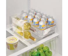 InterDesign Fridge/Freeze Binz Portavini Per 1 Bottiglia, Portabottiglie Impilabile In Plastica, Trasparente