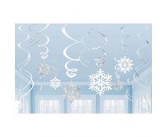 Decorazioni natalizie da appendere al soffitto, a forma di spirali con fiocchi di neve, confezione da 12 pezzi, colore: bianco e argento