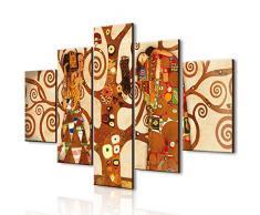 Quadro Moderno 5 pezzi in legno VOGUE 66X115 cm L Albero Della Vita