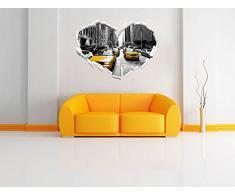 a forma di cuore Città del traffico di New York nel formato adesivo aspetto, parete o una porta 3D: 62x43.5cm, autoadesivi della parete, decalcomanie della parete, decorazione della parete