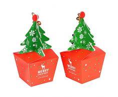 FLOFIA 25pz Scatoline Portaconfetti Scatole Regalo Natalizio a Forma di Albero di Natale Scatoline per Biscotti Confetti Confettata Caramelle Battesimo Segnaposto Bomboniere Natale