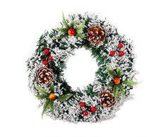 lā Vestmon Corona di ghirlande di Natale Natalizie festosa Albero di Natale simulato Matrimonio decorativo Ghirlanda Corona di celebrazione di nozze