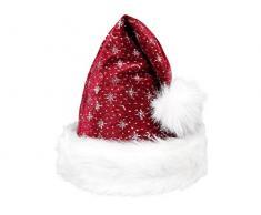 Cappello da Babbo Natale con Pon Pon e Bordo in felpa (wm-00) Rosso Bordò Bianco per Adulti Uomo Donna di Alsino